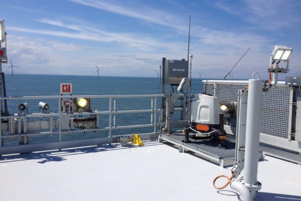 Lidar installed on offshore substation